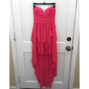 Coral Rouched Evening Gown